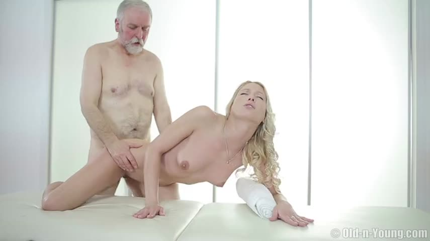 Blond masseuse squeezed big Tits long cock old grandfather
