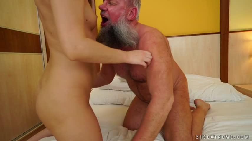 A bearded old man bought the services of young prostitutes that got fucked and cumshot in mouth