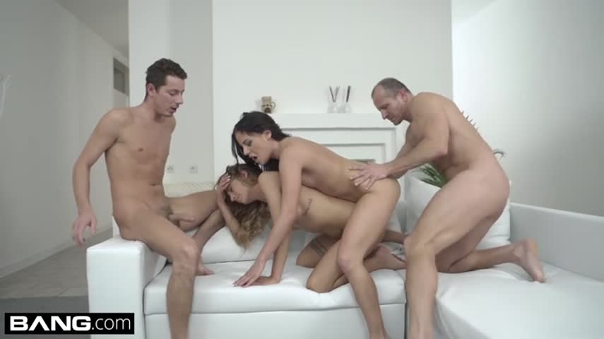 Long-haired hooker started with a Blowjob, and finished group sex in both holes