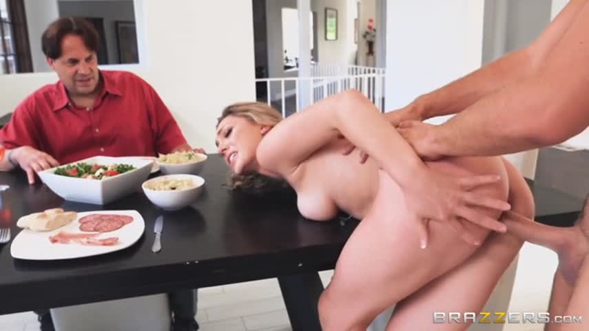 Dolls looks like his friend in the kitchen on the table fuck a beautiful girl with blond hair