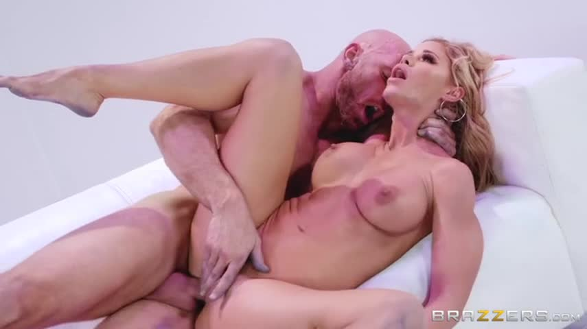 Porn casting skinny blonde with long legs gets sex from bald man