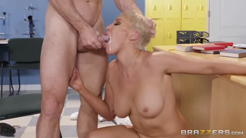 Old blonde teacher after class planted on a big dick high student