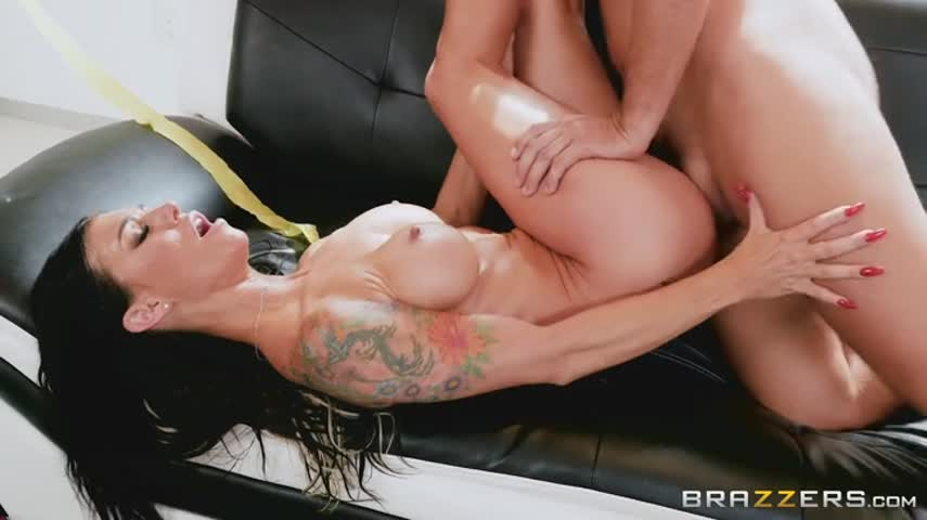 Tattooed brunette sat on top of big dick neighbor and fucked him good