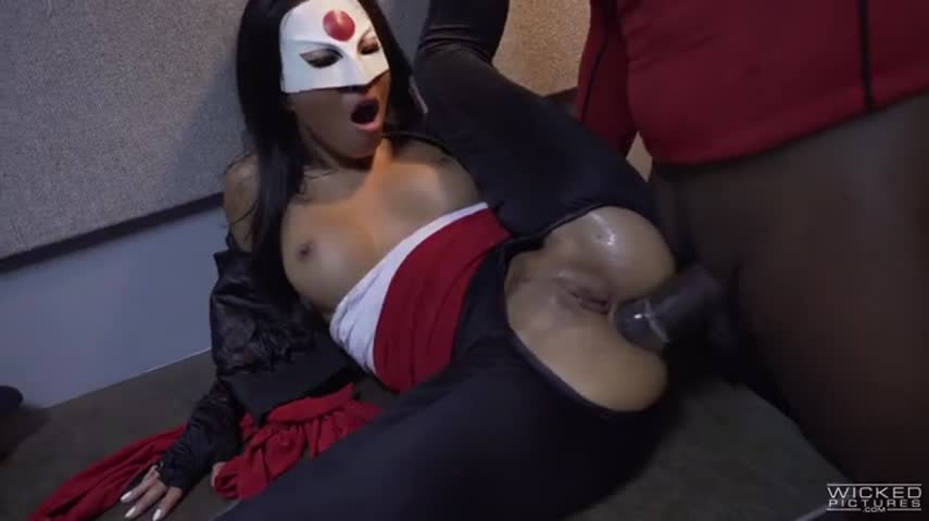 Mature bitch with blacks staged a violent role-play dress-up